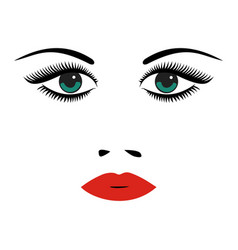 Portrait of beautiful young woman with green eyes vector