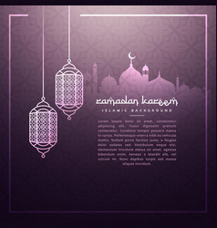 Ramadan background with hanging lamps vector