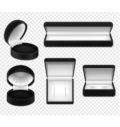 realistic jewelry boxes transparent set vector image