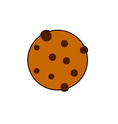 round cookie icon flat of bitten vector image