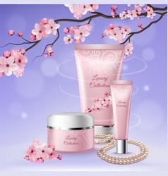 Sakura tubes cosmetics composition vector