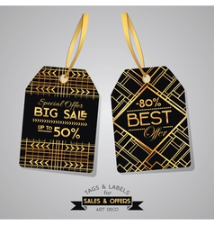 SALE Tags and Labels - Art Deco Style vector image