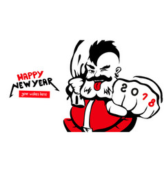 santa claus happy new year card 2018 vector image