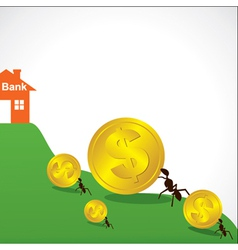 saving money concept show small ant vector image