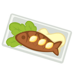 seafood in restaurant fried or baked fish on plate vector image