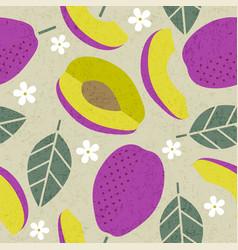 seamless pattern plum violet leaves flowers vector image