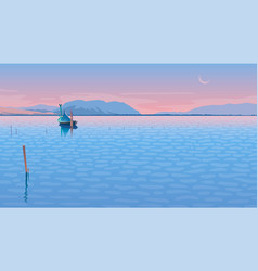 Seascape with a boat vector