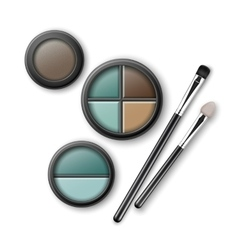 Set blue brown ocher eye shadows with brushes vector