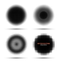 set four abstract halftone design elements vector image
