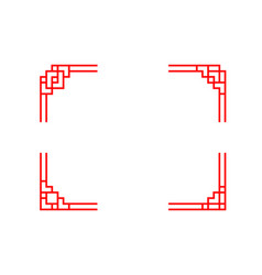 Set of chinese line corner in classic style vector
