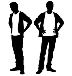 Silhouettes of people holding hands on hips vector
