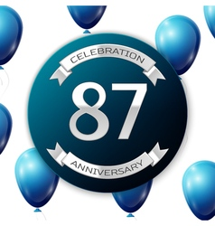 Silver number eighty seven years anniversary vector