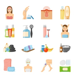 Skincare And Bodycare Flat Icons vector