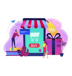 Smart retail in smart city concept vector