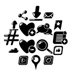 social network icons set simple style vector image
