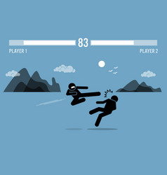 stick figure fighter characters fighting in a vector image