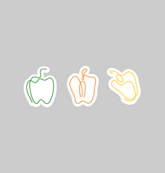 sticker one line art style bell pepper abstract vector image