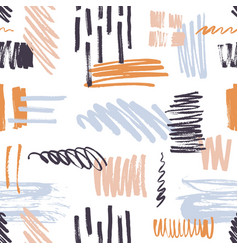 stylish seamless pattern with vivid brush strokes vector image