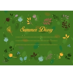 Summer diary Floral vintage card vector