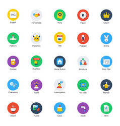 Technical flat rounded icons pack vector