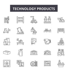 Technology products line icons signs set vector