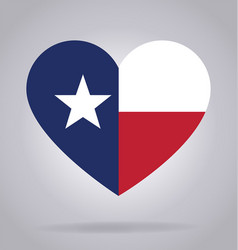 Texas tx flag in heart shape vector
