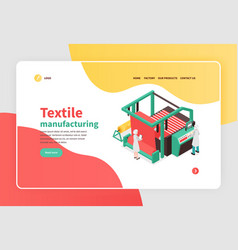 Textile factory isometric banner vector