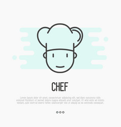 thin line icon of chef in hat for logo vector image