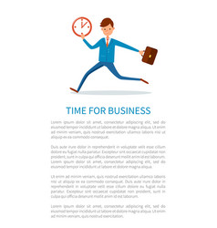 Time for business poster businessman runs at work vector