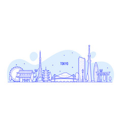 tokyo skyline japan city buildings linear vector image