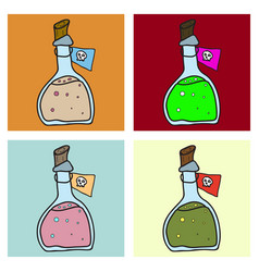 Toxic potion in small glass bottle with cork and vector