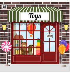 Toys shop facade of brown brick vector