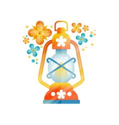 traditional arabic lantern muslim ramadan oil vector image