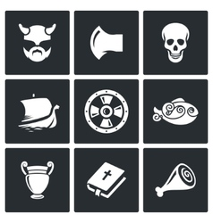 Viking Icons vector image