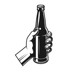 vintage hand holding beer bottle vector image