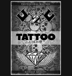 vintage monochrome tattoo studio poster vector image