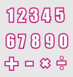White paper graphic alphabet numbers on pink vector