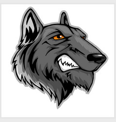 Wolf head mascot isolated on white vector