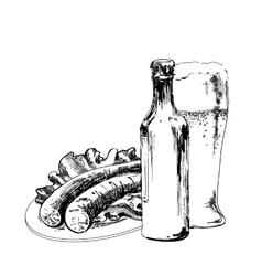 Beer with sausage vector image vector image