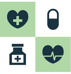 drug icons set collection of drug pellet heal vector image vector image