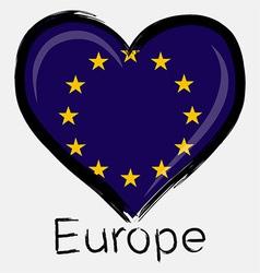 love Europe flag vector image
