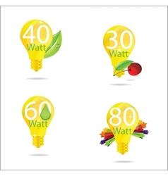 nature eco gold bulb symbols set vector image vector image