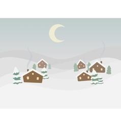Rural winter landscape cartoon vector image