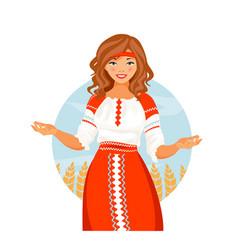 russian costume girl vector image