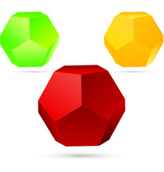 set of dodecahedron vector image