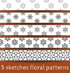 Set of sketches floral patterns vector image vector image