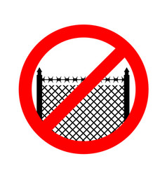 Stop border prohibited fence red prohibition sign vector