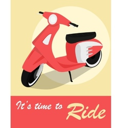 Vintage card of scooter in retro style vector image
