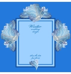 Wedding vertical frame with winter frozen glass vector image vector image