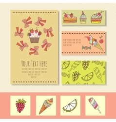 business cards with the image of ice cream ice vector image